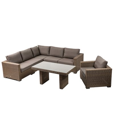 MAUI OUTDOOR RATTAN CORNER SET in Light Brown
