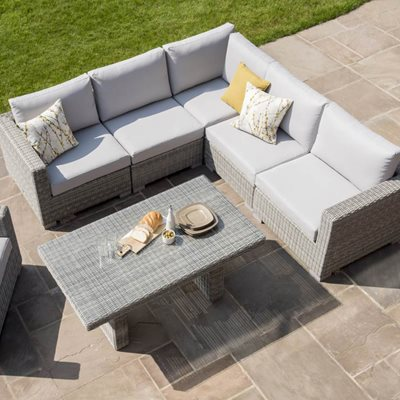 MAUI OUTDOOR RATTAN CORNER SET in Mouse Grey