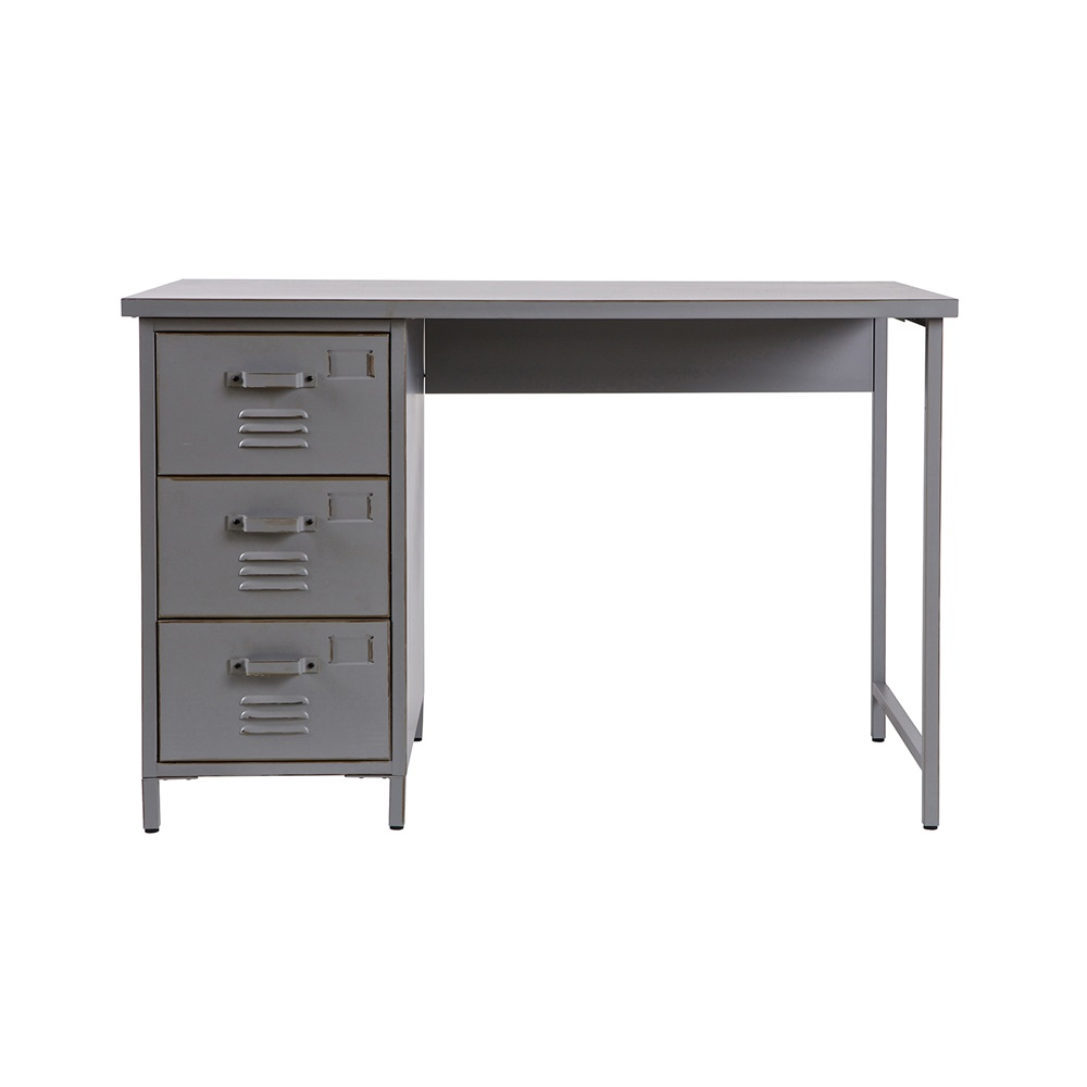 Vintage Metal Desk In Grey