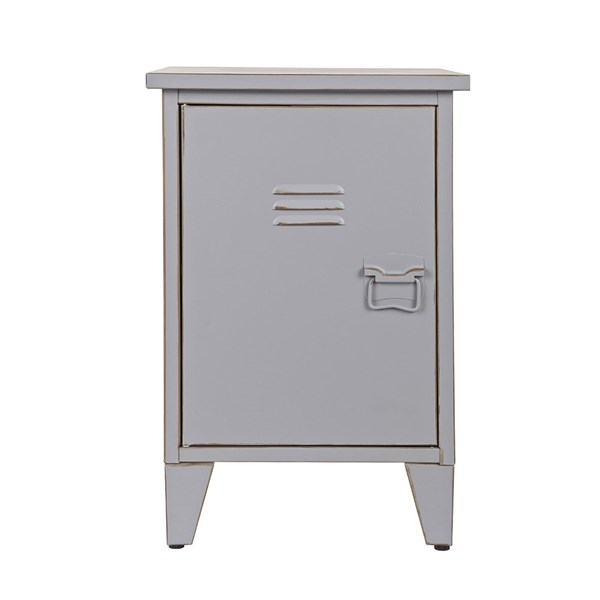 Max Metal Locker Bedside Table in Grey by Woood