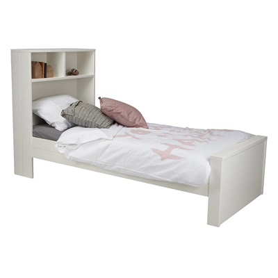 Max Contemporary White Single Bed With Headboard Storage