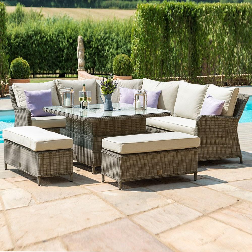 Admirable Maze Rattan Winchester Royal Corner Dining Sofa Set With Rising Table Inzonedesignstudio Interior Chair Design Inzonedesignstudiocom