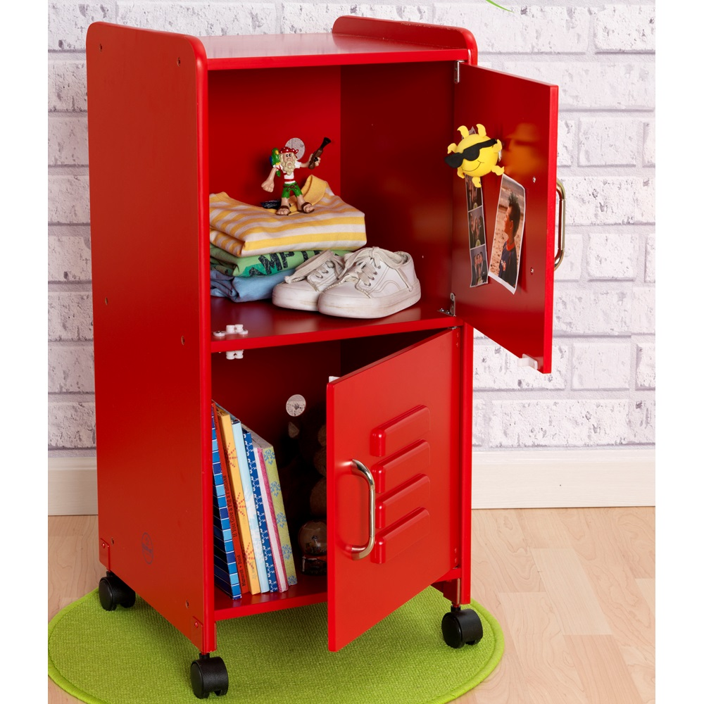 Kids Locker Cupboard In Red Girls Bedroom Furniture