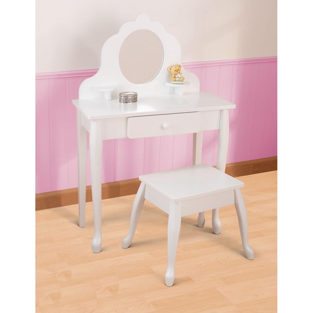 Kids Vanity Table And Stool In White Kid Kraft Cuckooland