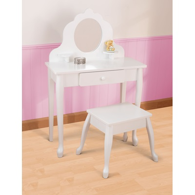 Kids Vanity Table And Stool In White Girls Bedroom