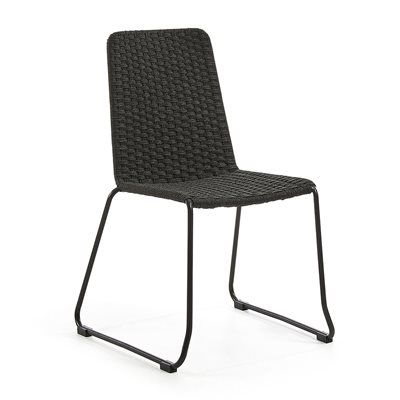 Pair of Meggie Woven Dining Chairs in Dark Grey