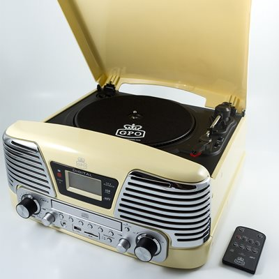 GPO MEMPHIS VINYL TURNTABLE with MP3, FM Radio & CD Deck in Cream
