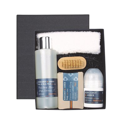 BATH HOUSE BERGAMOT & AMBER MEN'S SHOWER GIFT BOX