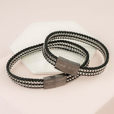 Personalised Men's Black Leather and Box Chain Bracelet