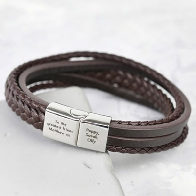 Personalised Men's Layered Leather Bracelet
