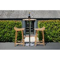 MENTON TEAK BARSTOOL SET including 2 Stools & Bar Table