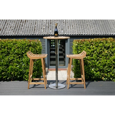 MENTON TEAK BARSTOOL SET including 2 Stools & Bar Table