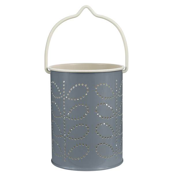 Orla Kiely Tea Light Lantern in Cool Grey Linear Stem Print