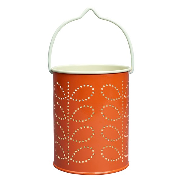 Orla Kiely Tea Light Lantern in Persimmon Orange Linear Stem Print