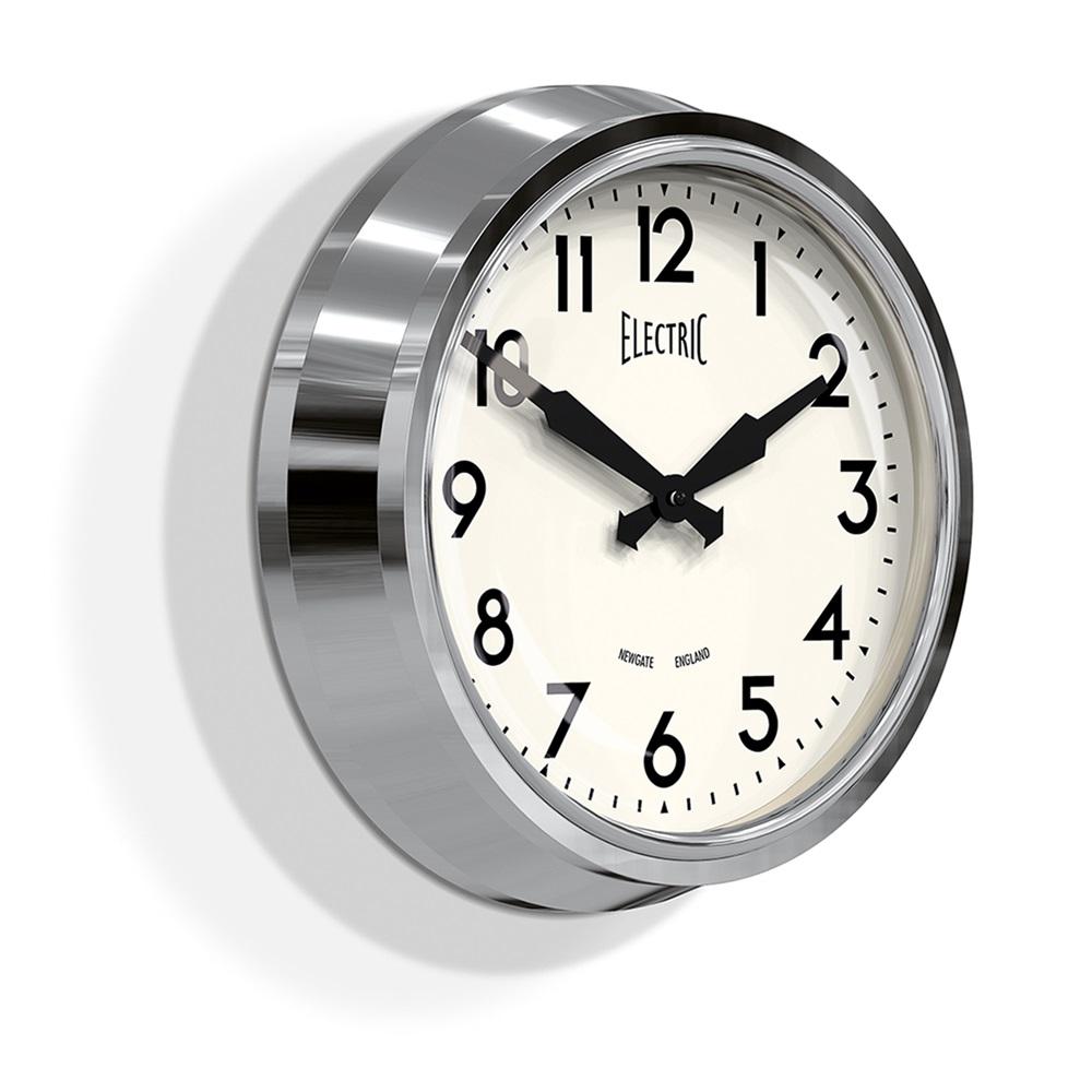 Newgate 50 39 s chrome retro wall clock newgate clocks cuckooland for Designer kitchen wall clocks
