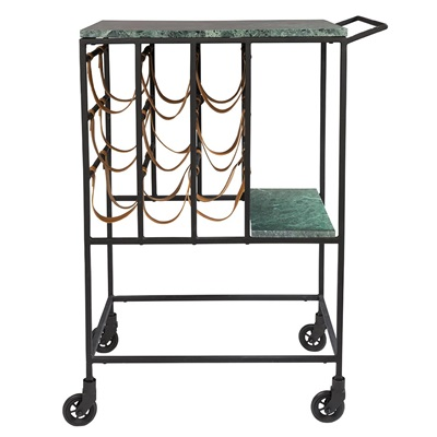 DUTCHBONE MARBLE TOP DRINKS TROLLEY with Iron Frame