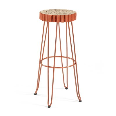 EVENTO SOLID TEAK BAR STOOL in Copper