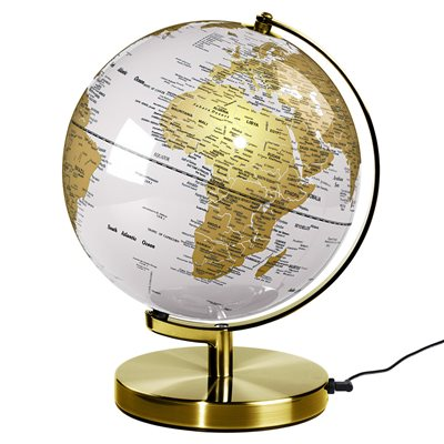 "WILD & WOLF LIGHT UP 10"" GLOBE in Arctic White and Brass"