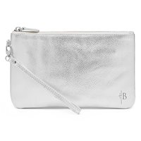 METALLIC SILVER PHONE CHARGING LEATHER MIGHTY PURSE