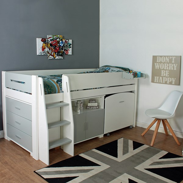 Midsleeper Grey and White Kids Storage Bed