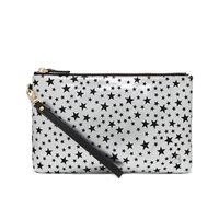 SILVER AND BLACK STAR PHONE CHARGING LEATHER MIGHTY PURSE