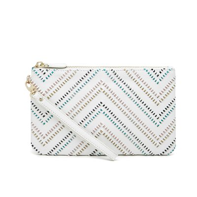 TRIBAL WHITE PHONE CHARGING LEATHER MIGHTY PURSE