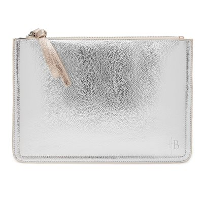 MIGHTY PURSE 2TONE CLUTCH BAG in Metallic Silver and Rose Gold