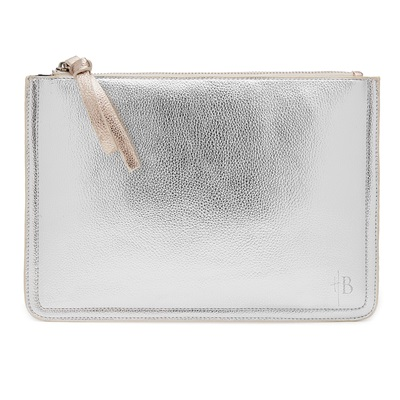 PHONE CHARGING MIGHTY PURSE 2TONE CLUTCH BAG in Silver & Rose Gold