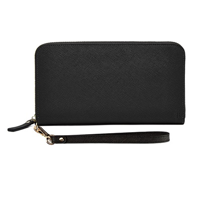 PHONE CHARGING MIGHTY PURSE ZIPPER WALLET in Black