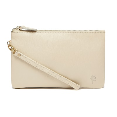 PHONE CHARGING MIGHTY PURSE in Cream Cow Leather