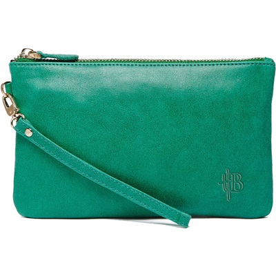 PHONE CHARGING MIGHTY PURSE in Emerald Green Cow Leather