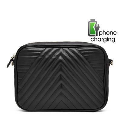 PHONE CHARGING MIGHTY PURSE GEO X-BODY BAG in Black
