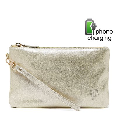 PHONE CHARGING MIGHTY PURSE in Gold Shimmer Goat Leather