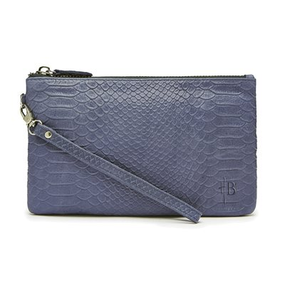 MIGHTY PURSE in Reptile Blue Cow Leather