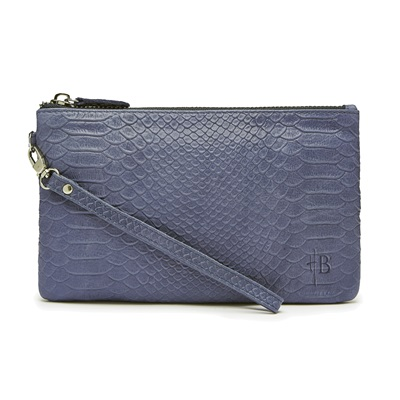PHONE CHARGING MIGHTY PURSE in Reptile Blue Cow Leather