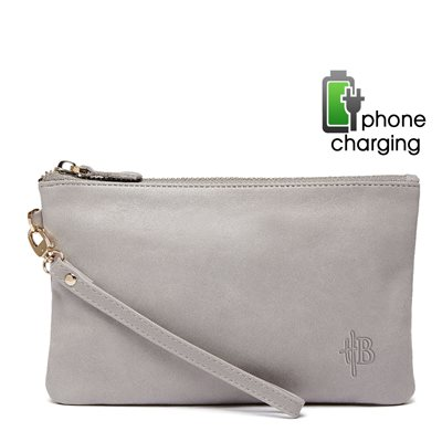 PHONE CHARGING MIGHTY PURSE in Lizard Grey Cow Leather