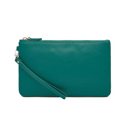 TEAL BLUE PHONE CHARGING LEATHER MIGHTY PURSE