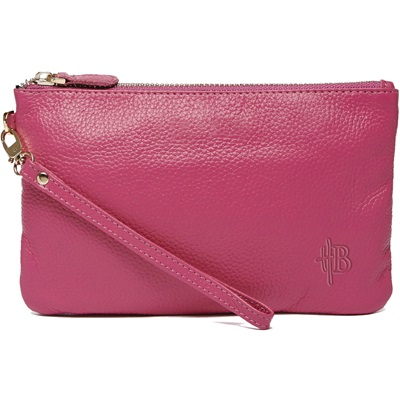 PHONE CHARGING MIGHTY PURSE in Poppy Pink Cow Leather