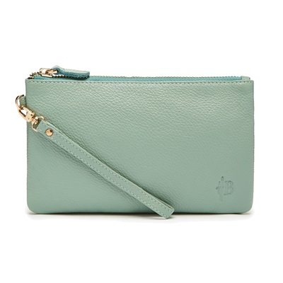 PHONE CHARGING MIGHTY PURSE in Powder Blue Cow Leather