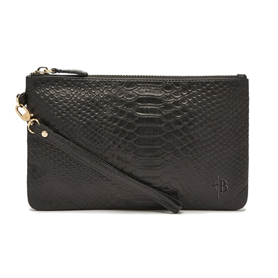 PHONE CHARGING MIGHTY PURSE in Reptile Black Imprinted Cow Leather