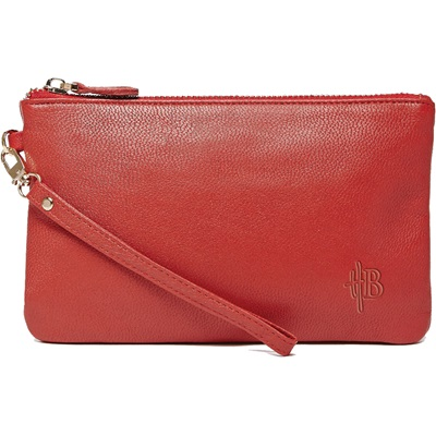 PHONE CHARGING MIGHTY PURSE in Ruby Red Goat Leather