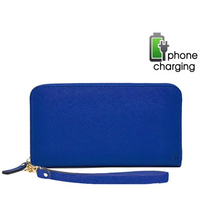 PHONE CHARGING MIGHTY PURSE ZIPPER WALLET in Electric Blue