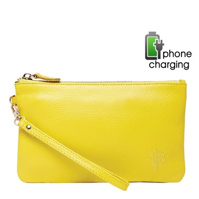 PHONE CHARGING MIGHTY PURSE in Squeaky Yellow Cow Leather