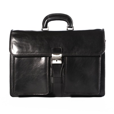 MILAN FLAPOVER BRIEFCASE In Black by Adventure Avenue