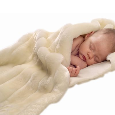 MINIMINK FAUX FUR BABY BLANKET in Milk