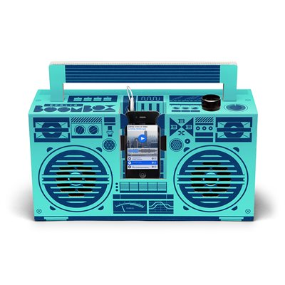 BERLIN BOOMBOX DIY CARDBOARD SMARTPHONE SPEAKER in Mint