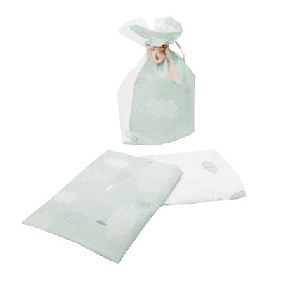 OLLI ELLA FITTED COT SHEET SET in Mint Pitter Patter Design