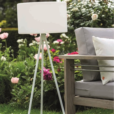 Model a White Garden Tripod Lamp with High Stand
