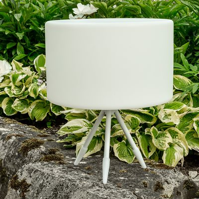 MODEL A WHITE GARDEN TRIPOD LAMP with Low Stand