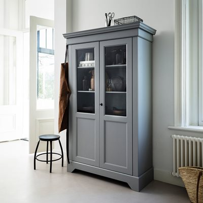 ANNA SOLID PINE DISPLAY CABINET in Concrete Grey